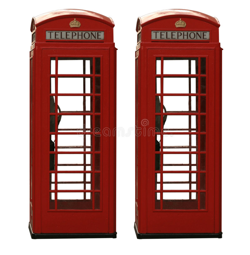 Download Two Classic Red British Telephone Box, Isolated On Stock Image - Image: 4026849