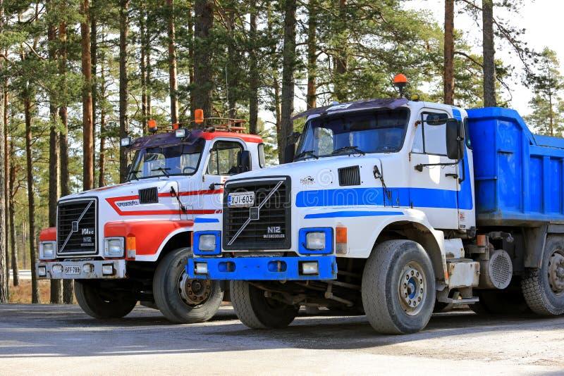 Two Classic Volvo N12 Trucks royalty free stock photo