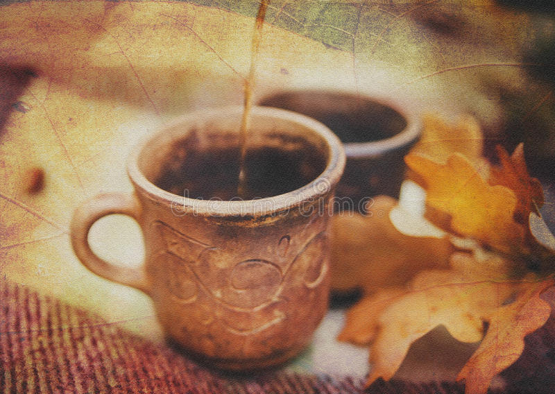 Two Clay Rural Cups with Hot Beverage are on the Wool Plaid with Autumnal Leaves.Nature Background.Selective Focus vector illustration
