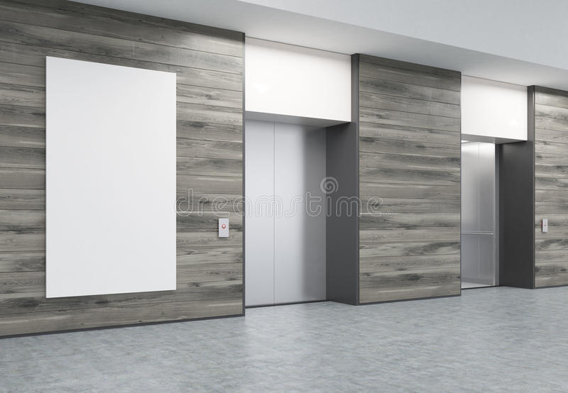 Two closed elevators in corridor with wooden walls and poster royalty free illustration