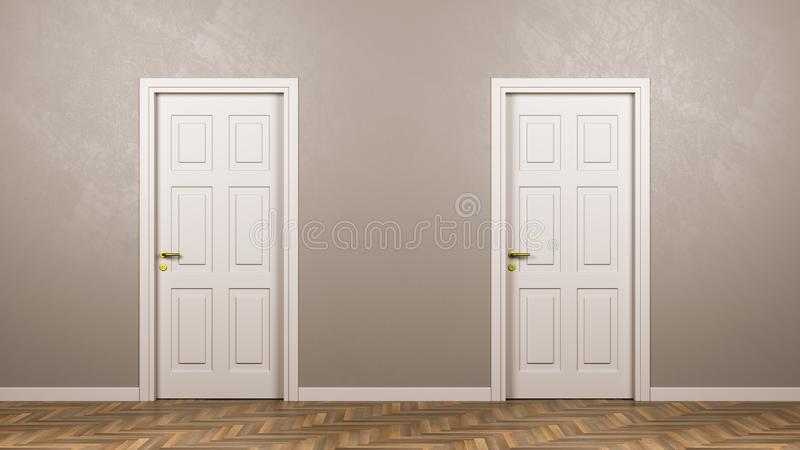 Two Closed White Doors in Front in the Room stock illustration