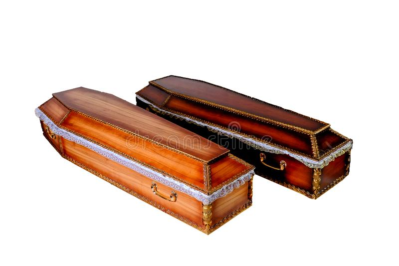 Two closed wooden coffins isolated stock image