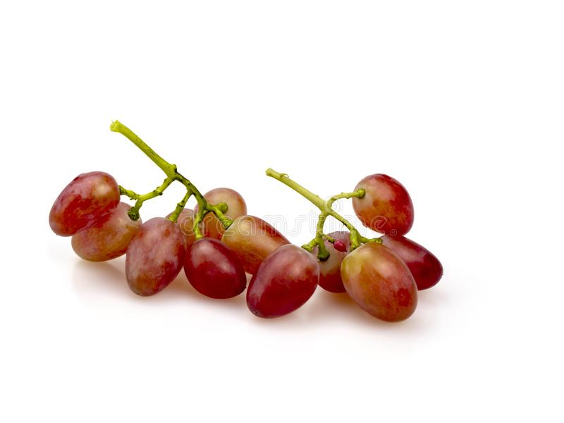Two clusters of large pink grapes. On a white background. Still life, isolated royalty free stock image