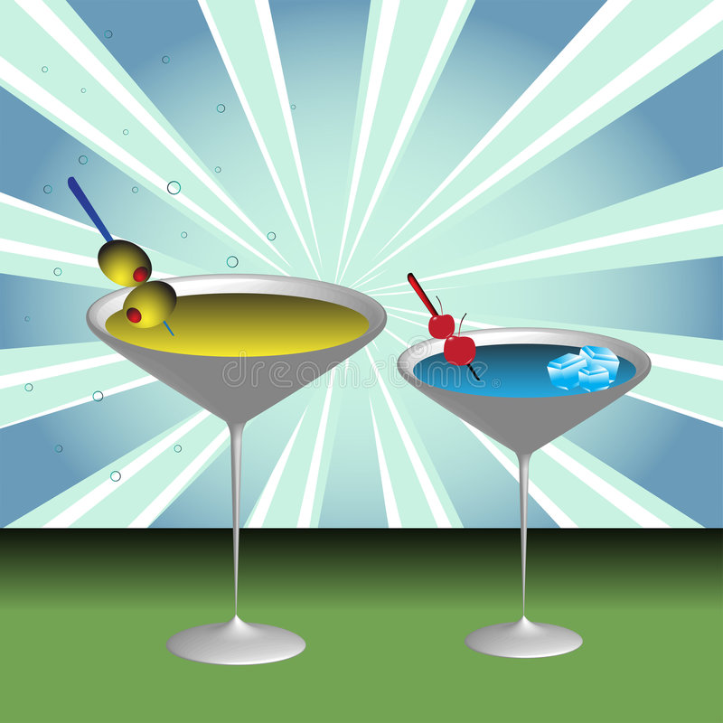 Download Two cocktail glasses stock vector. Image of bubbles, image - 9156219