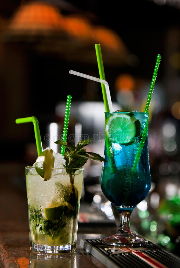 Download Two cocktails stock image. Image of blue, freshness, cube - 15289169