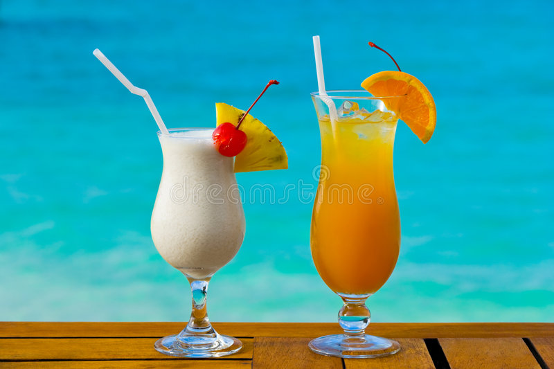Two cocktails on table royalty free stock image