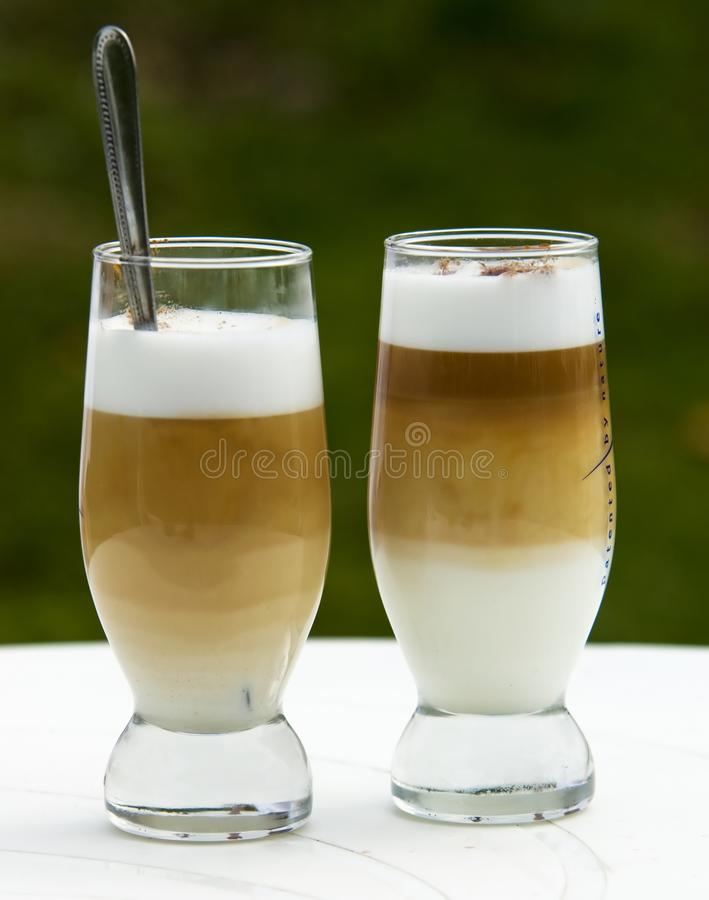 Two coffe-latte royalty free stock images