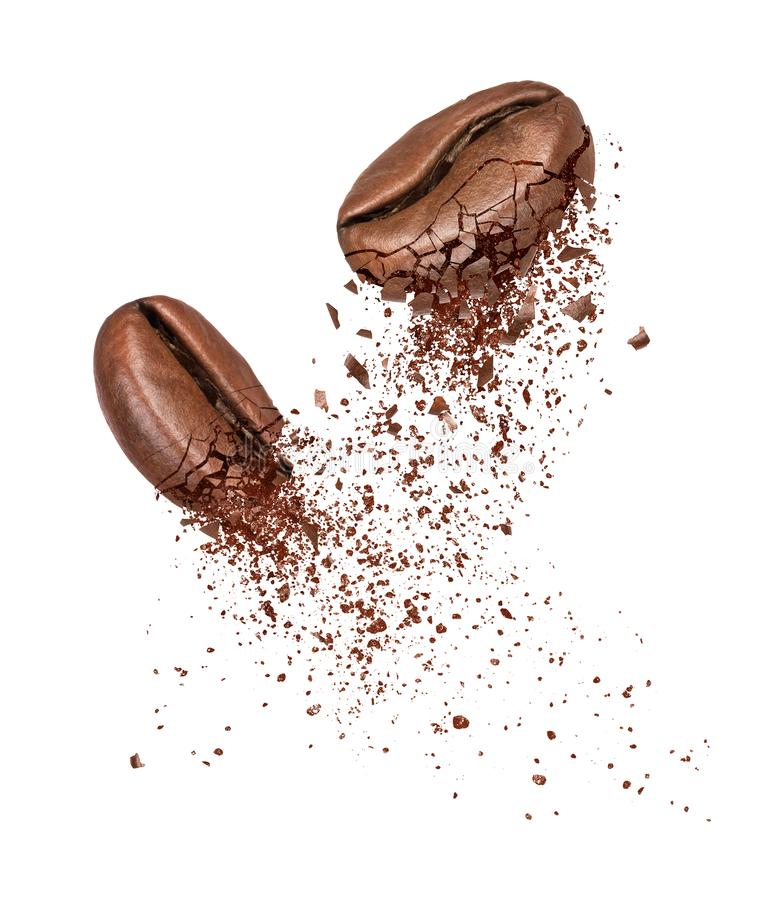 Two coffee beans broken into powder close-up on a white royalty free stock image