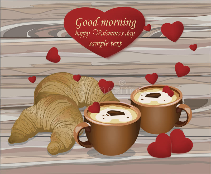 Two coffee cups and croissants on wood background. Romantic breakfast love. Valentines Day card. Two coffee cups and croisants on wood background. Romantic royalty free illustration