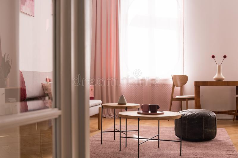 Two coffee cups on wooden coffee table in chic pastel pink living room with oldschool leather pouf on warm pastel pink carpet royalty free stock photos