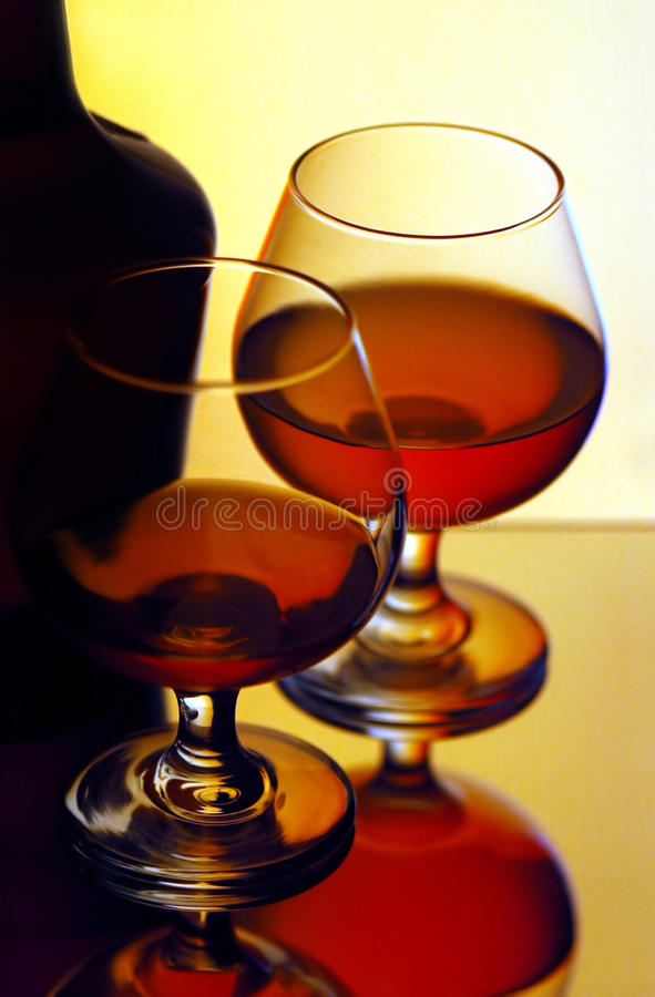 Two cognac glasses royalty free stock photo