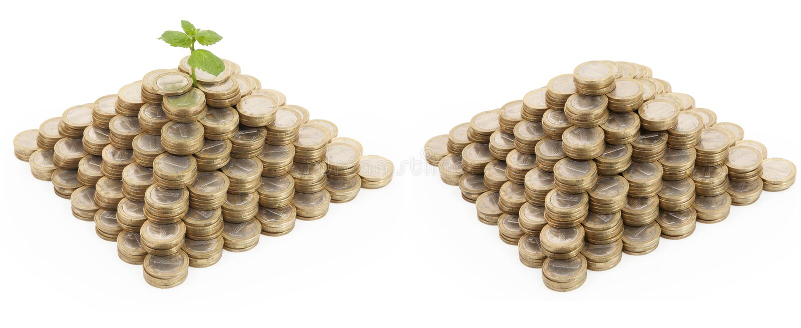 Download Two coin pyramids stock photo. Image of coin, invest - 20406686