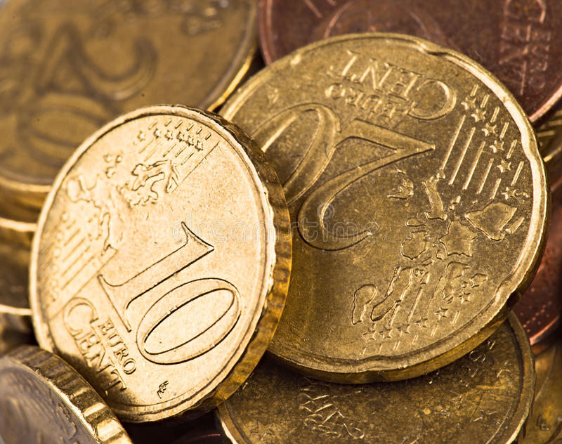 Two coins. Macro takes two coins of 10 and 20 euro cents stock images