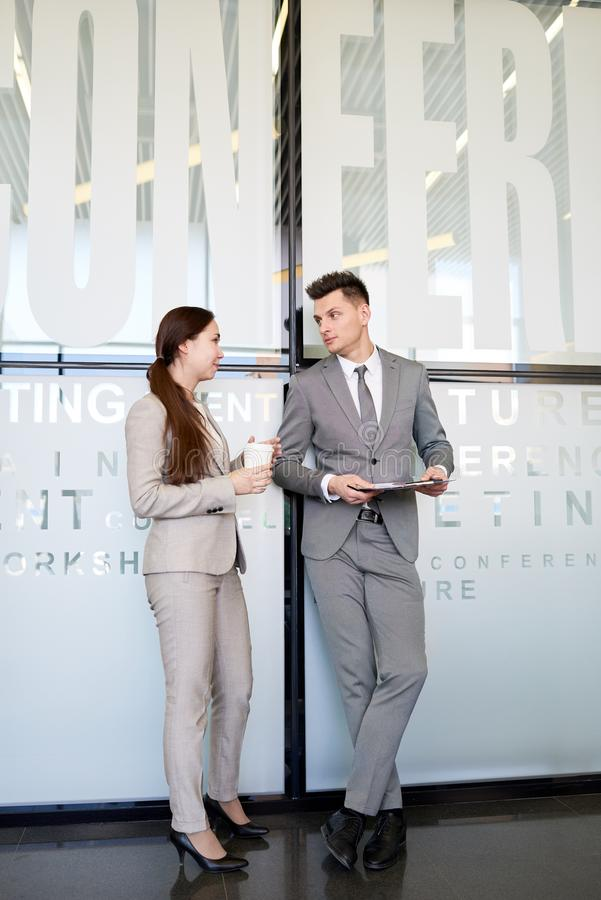 Two Colleagues at Coffee Break stock photography