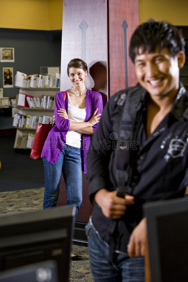 Download Two College Students Hanging Out In Library Stock Photo - Image of foreign, college: 11752780
