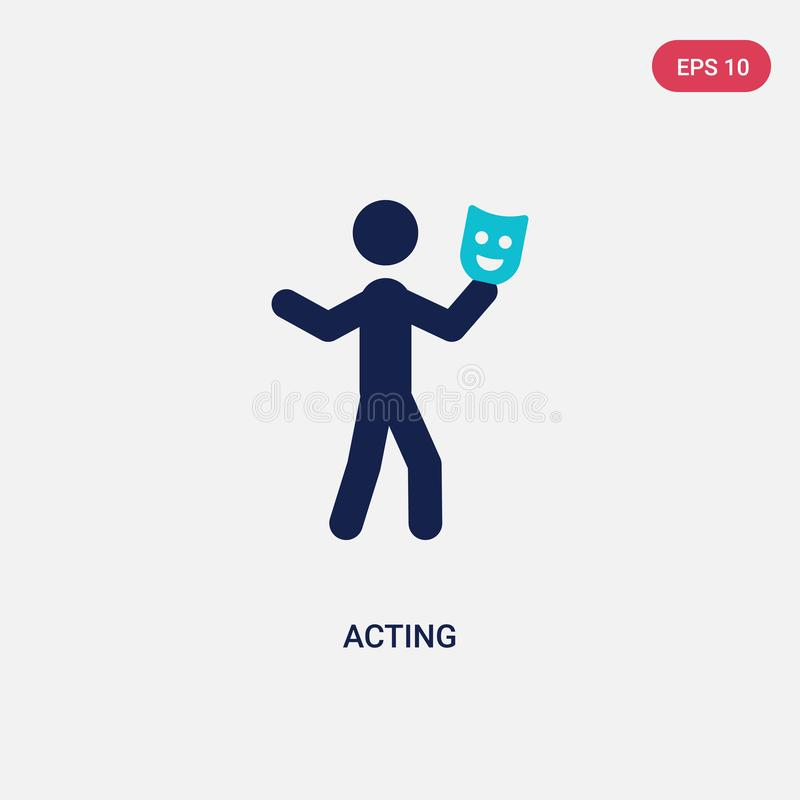 Two color acting vector icon from activity and hobbies concept. isolated blue acting vector sign symbol can be use for web, mobile. And logo. eps 10 vector illustration