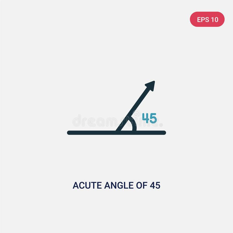 Two color acute angle of 45 degrees vector icon from shapes concept. isolated blue acute angle of 45 degrees vector sign symbol. Can be use for web, mobile and royalty free illustration