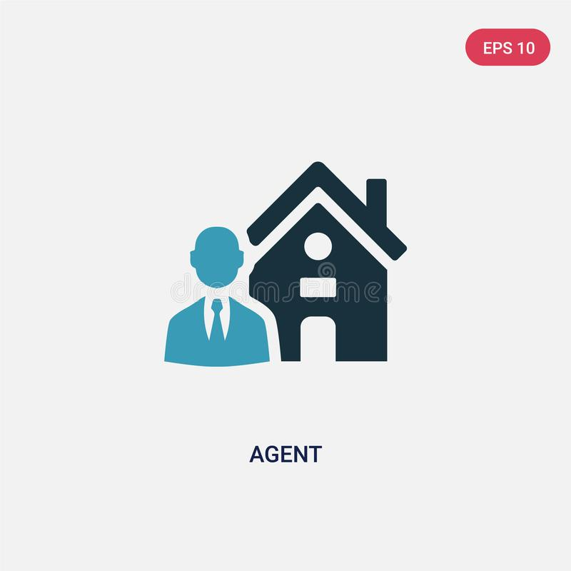 Two color agent vector icon from real estate concept. isolated blue agent vector sign symbol can be use for web, mobile and logo. Eps 10 stock illustration