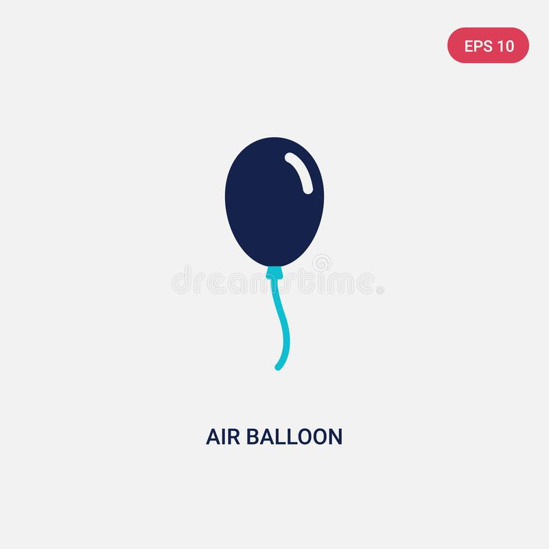 Two color air balloon vector icon from birthday and party concept. isolated blue air balloon vector sign symbol can be use for web royalty free illustration