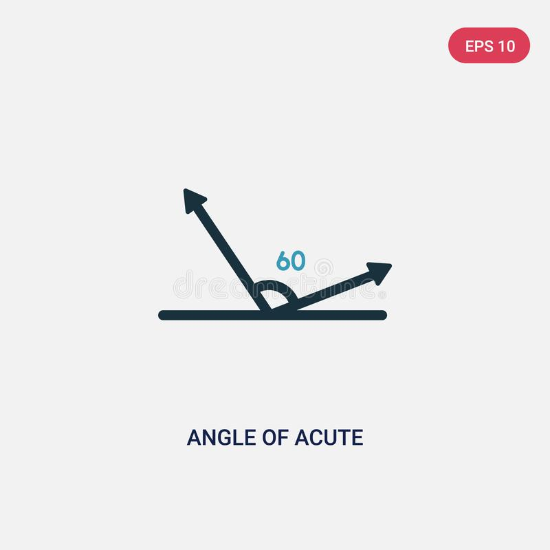 Two color angle of acute vector icon from shapes concept. isolated blue angle of acute vector sign symbol can be use for web,. Mobile and logo. eps 10 vector illustration
