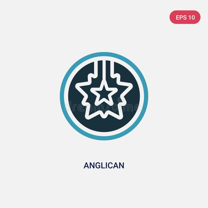 Two color anglican vector icon from religion concept. isolated blue anglican vector sign symbol can be use for web, mobile and royalty free illustration