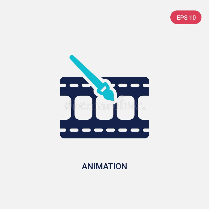 Two color animation vector icon from cinema concept. isolated blue animation vector sign symbol can be use for web, mobile and stock illustration
