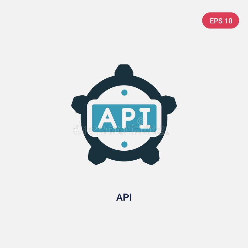 Two color api vector icon from programming concept. isolated blue api vector sign symbol can be use for web, mobile and logo. eps royalty free illustration