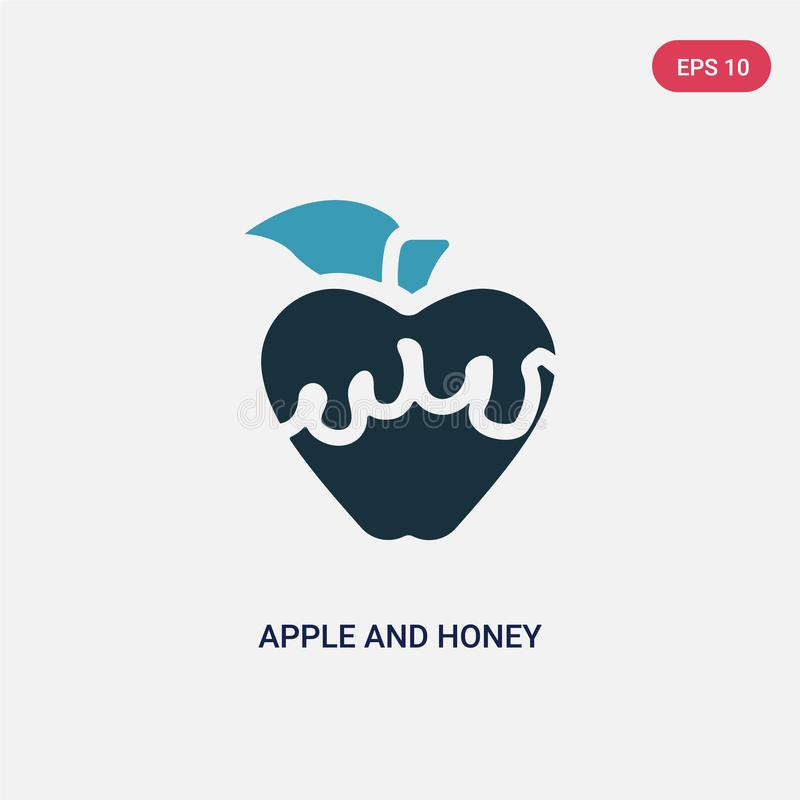 Two color apple and honey vector icon from religion concept. isolated blue apple and honey vector sign symbol can be use for web, royalty free illustration