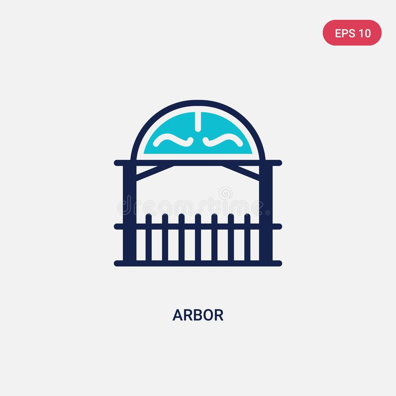 Two color arbor vector icon from architecture and city concept. isolated blue arbor vector sign symbol can be use for web, mobile stock illustration
