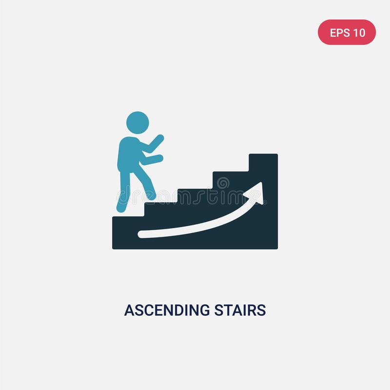 Two color ascending stairs vector icon from signs concept. isolated blue ascending stairs vector sign symbol can be use for web,. Mobile and logo. eps 10 royalty free illustration
