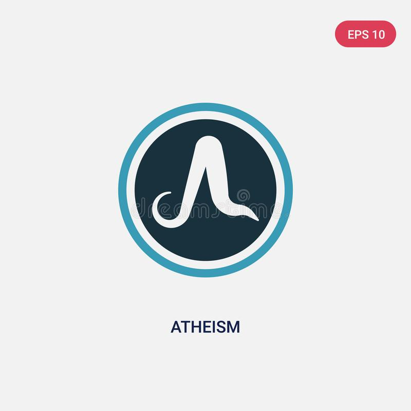 Two color atheism vector icon from religion concept. isolated blue atheism vector sign symbol can be use for web, mobile and logo. Eps 10 stock illustration
