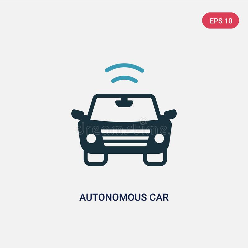 Two color autonomous car vector icon from smart house concept. isolated blue autonomous car vector sign symbol can be use for web vector illustration