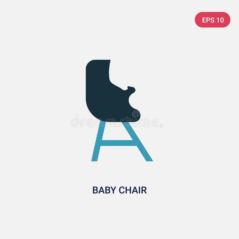 Two color baby chair vector icon from kid and baby concept. isolated blue baby chair vector sign symbol can be use for web, mobile royalty free illustration