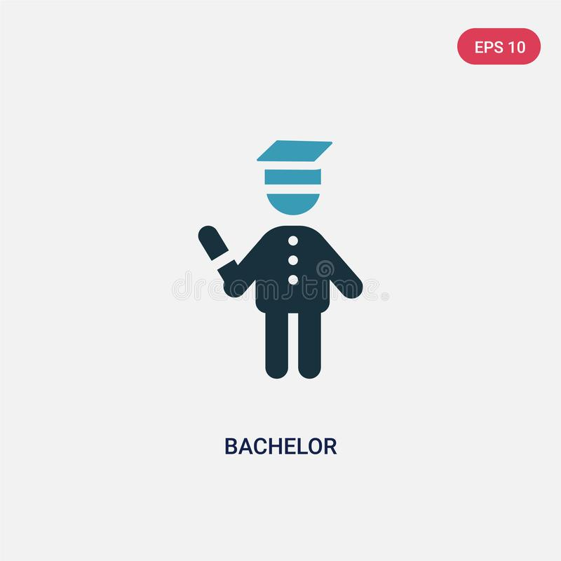 Two color bachelor vector icon from people concept. isolated blue bachelor vector sign symbol can be use for web, mobile and logo. Eps 10 royalty free illustration