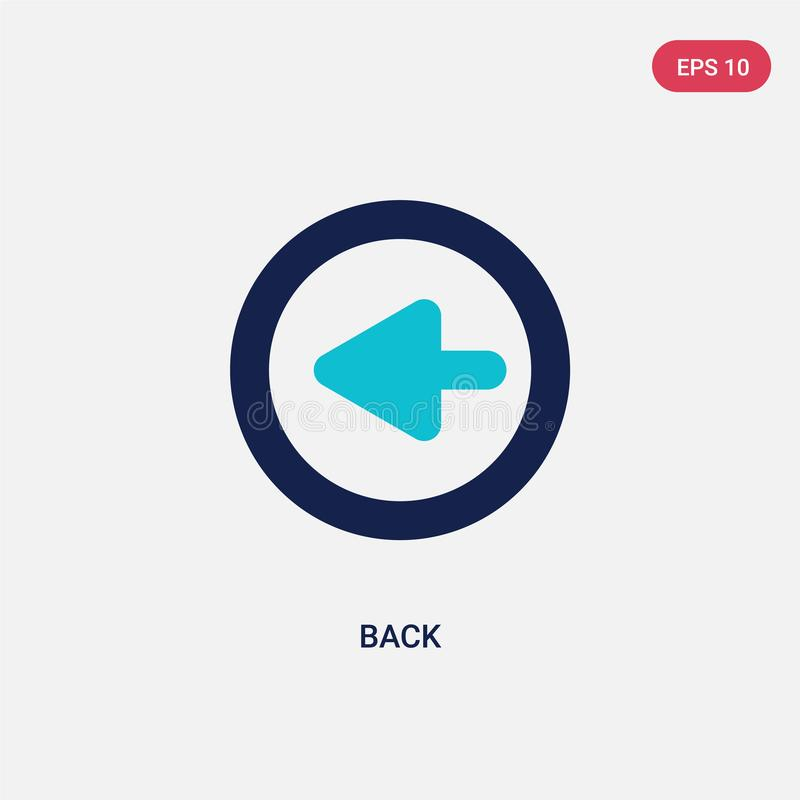 Two color back vector icon from arrows 2 concept. isolated blue back vector sign symbol can be use for web, mobile and logo. eps stock illustration