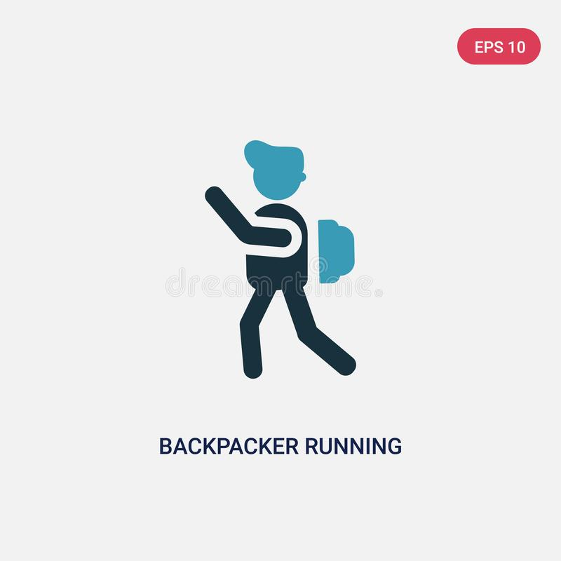 Two color backpacker running vector icon from people concept. isolated blue backpacker running vector sign symbol can be use for royalty free illustration