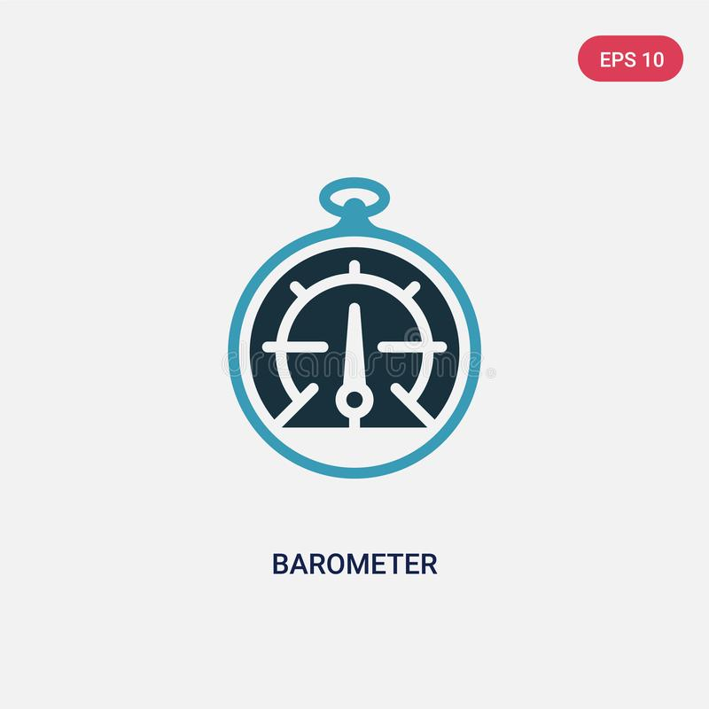 Two color barometer vector icon from nautical concept. isolated blue barometer vector sign symbol can be use for web, mobile and. Logo. eps 10 vector illustration