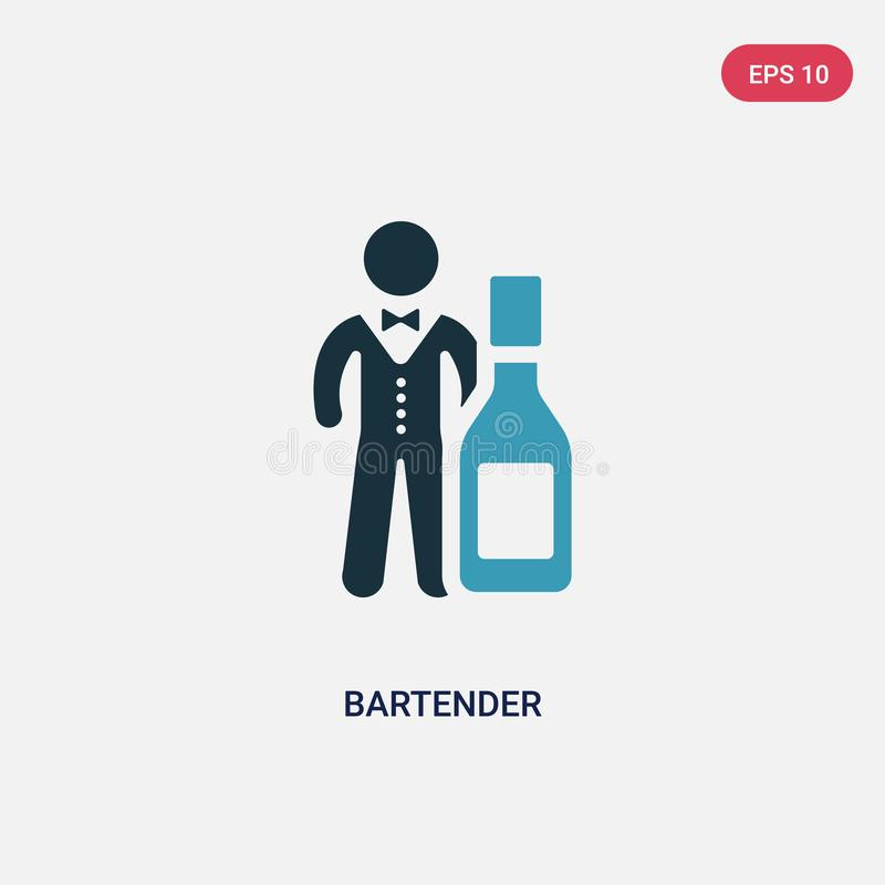 Two color bartender vector icon from people skills concept. isolated blue bartender vector sign symbol can be use for web, mobile stock illustration