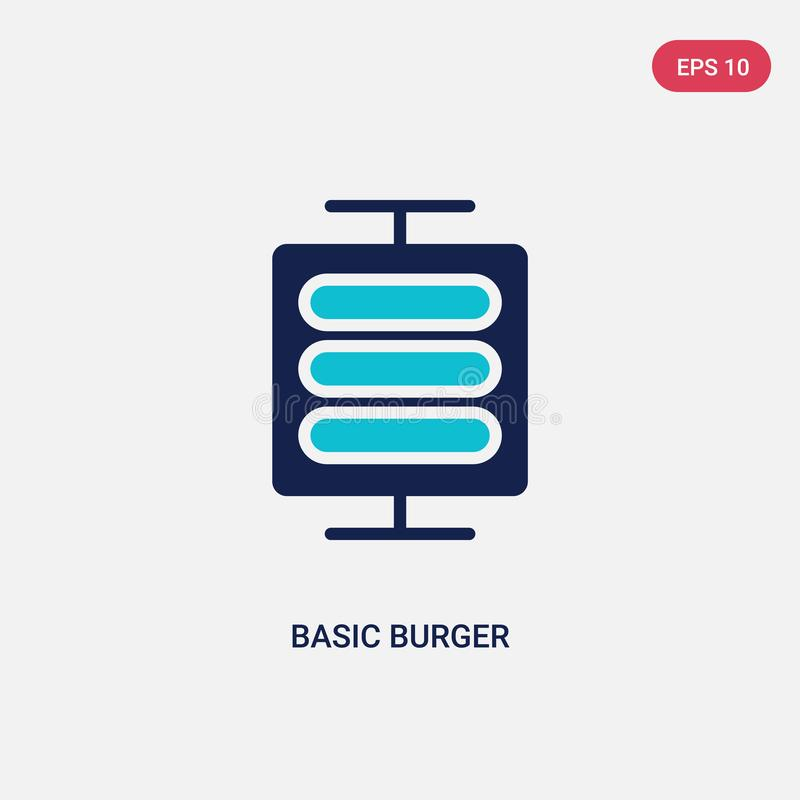 Two color basic burger vector icon from business concept. isolated blue basic burger vector sign symbol can be use for web, mobile vector illustration