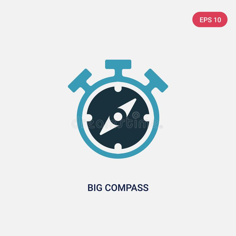 Two color big compass vector icon from people skills concept. isolated blue big compass vector sign symbol can be use for web, vector illustration