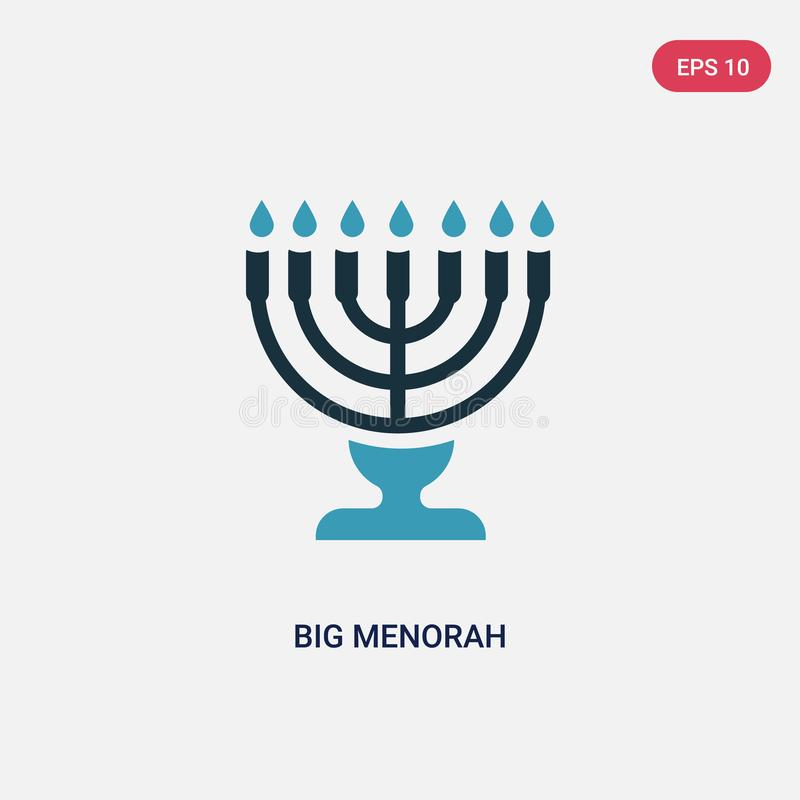 Two color big menorah vector icon from religion concept. isolated blue big menorah vector sign symbol can be use for web, mobile vector illustration