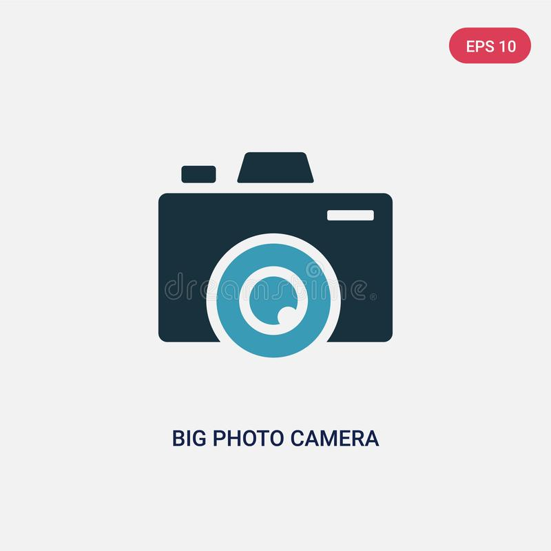 Two color big photo camera vector icon from social media concept. isolated blue big photo camera vector sign symbol can be use for vector illustration