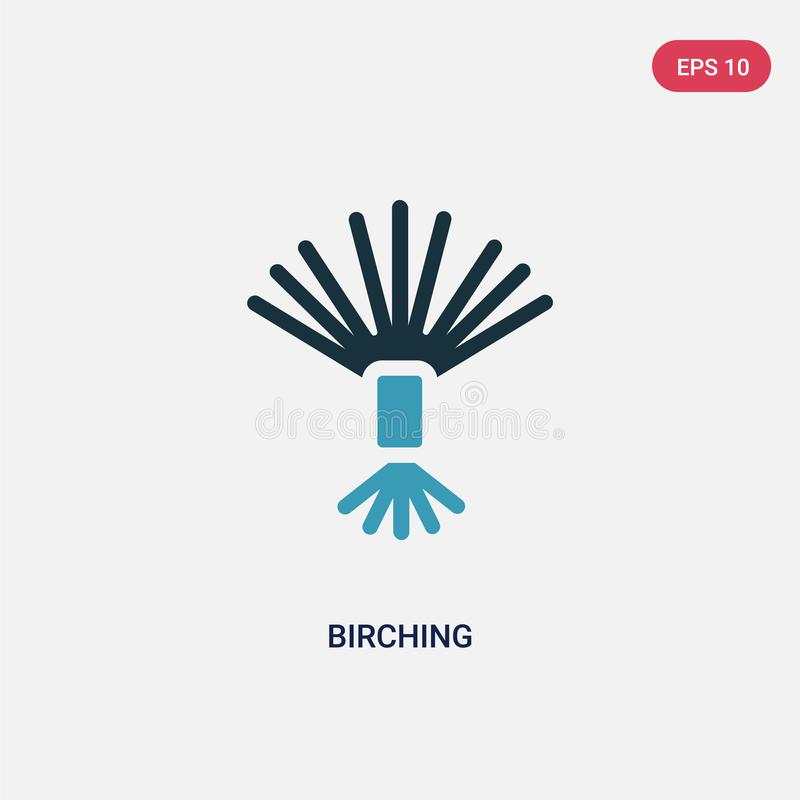 Two color birching vector icon from sauna concept. isolated blue birching vector sign symbol can be use for web, mobile and logo. stock illustration