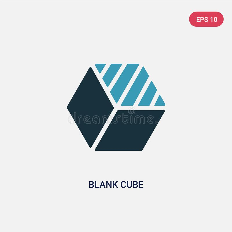 Two color blank cube vector icon from shapes concept. isolated blue blank cube vector sign symbol can be use for web, mobile and vector illustration