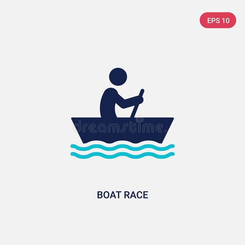 two color boat race vector icon from activity and hobbies concept. isolated blue boat race vector sign symbol can be use for web, vector illustration