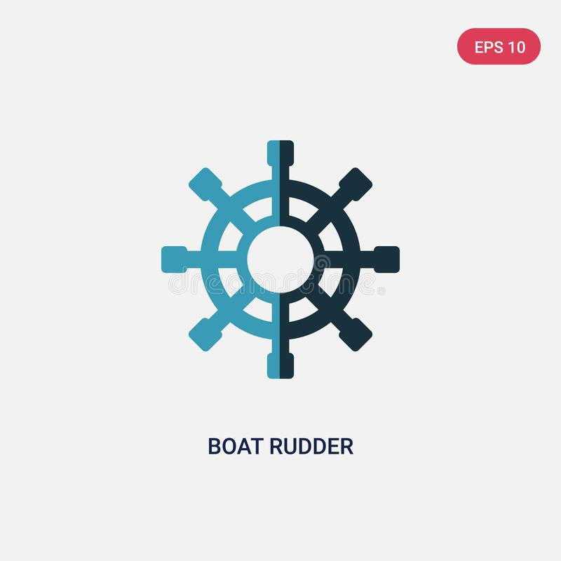 Two color boat rudder vector icon from people skills concept. isolated blue boat rudder vector sign symbol can be use for web, stock illustration