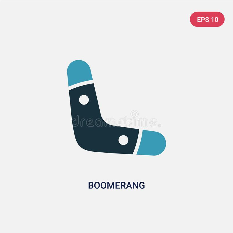Two color boomerang vector icon from stone age concept. isolated blue boomerang vector sign symbol can be use for web, mobile and vector illustration