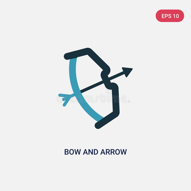 Two color bow and arrow vector icon from stone age concept. isolated blue bow and arrow vector sign symbol can be use for web, vector illustration