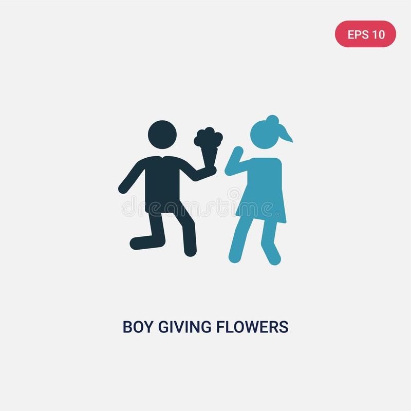 Two color boy giving flowers to his girlfriend vector icon from people concept. isolated blue boy giving flowers to his girlfriend stock illustration