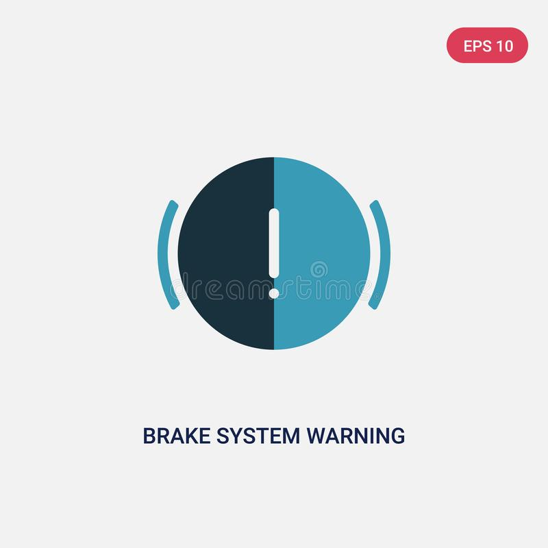 Two color brake system warning vector icon from shapes concept. isolated blue brake system warning vector sign symbol can be use. For web, mobile and logo. eps stock illustration
